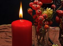 Still life with red candles. Autumn Royalty Free Stock Photo