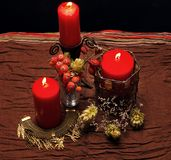 Still life with red candles. Autumn Stock Photography
