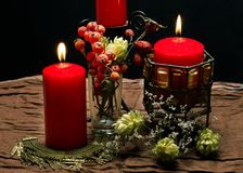 Still life with red candles. Autumn Stock Photo