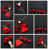 Still life of red heart, carnations and stick candy Stock Images
