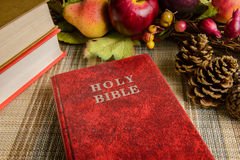 Still life red holy bible royalty free stock photo