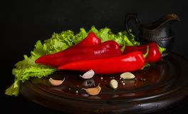 Still life with red pepper. stock images