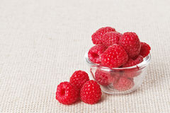 Still life with red raspberry and glass bowl Stock Photos