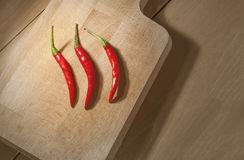 Still life Red Thai Chili on wooden background Stock Images