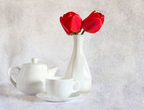 Still life with red tulips Royalty Free Stock Photos