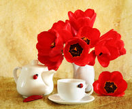 Still life with red tulips Stock Image