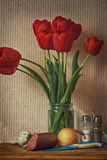 Still life with red tulips Royalty Free Stock Photography