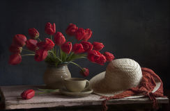 Still life with red tulips Stock Photo