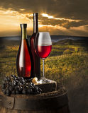 Still life with red wine Stock Photos