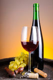 Still life with red wine and grapes Stock Image