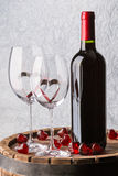 Still life with red wine and heart Stock Image