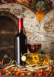 Still life with red wine and heart Royalty Free Stock Photography