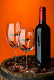 Still life with red wine and heart Stock Photography