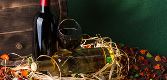 Still life with red wine and heart Royalty Free Stock Photos