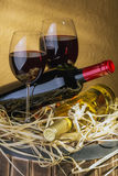 Still life with red wine and heart Royalty Free Stock Images
