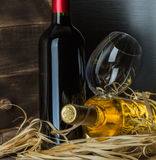 Still life with red wine and heart. On a barrel Royalty Free Stock Image