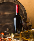 Still life with red wine and heart Stock Photos