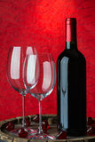 Still life with red wine and heart. On a barrel Royalty Free Stock Photography