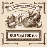 Still-life retro food advertisement layout design template. Royalty Free Stock Photography