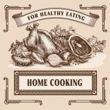 Still-life retro food advertisement layout design template. Stock Photos