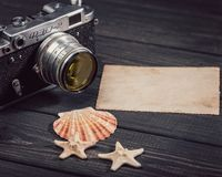 Still life with retro soviet photo camera FED-2 stock images