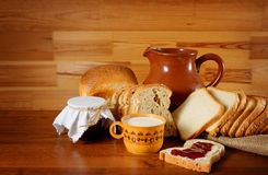 Still life in retro style with bread Royalty Free Stock Images