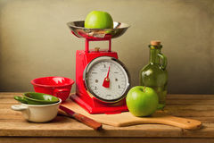 Still life with retro style scales Stock Photo