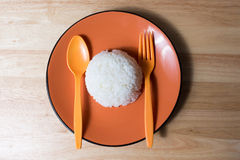 Still life,Rice on orange dish with spoon on wood table Stock Image