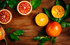 Still Life with Ripe Juicy Citrus Fruits Stock Images