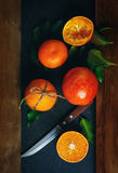 Still Life with Ripe Juicy Oranges Royalty Free Stock Photos