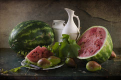 Still life with ripe and red watermelon royalty free stock photo
