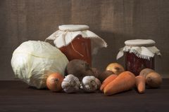 Still life of ripe vegetables harvested in a home garden. Royalty Free Stock Photography