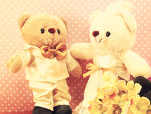 Still life romantic bear on wedding scene love concept Royalty Free Stock Photography