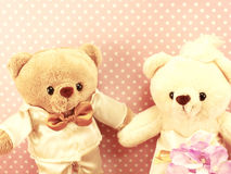Still life romantic bear on wedding scene love concept Stock Image