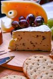 Still life Roquefort cheese, red and green grapes, crackers on wooden plate. Still life Roquefort cheese and red and green grapes with crackers Royalty Free Stock Photo