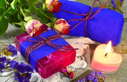 Still life with rose fragrances Stock Image