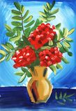 Still life with rowan on a blue background. Hand painted on a paper illustration. royalty free illustration