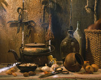 Still life of rural life with kettle and bottle Royalty Free Stock Image