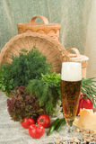 Still Life In Rural Style. Still life with sausage, beer and vegetables stock image