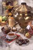 Still Life In Rural Style. Still life in traditional Russian style with cakes and samovar royalty free stock photos