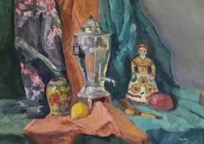 Still life with Russian Samovar Royalty Free Stock Images