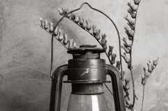 Kerosene lantern and dry branch of bleached. Monochrome. Still-life in the rustic style royalty free stock photo