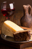 Still life with rye bread and cheese Royalty Free Stock Photo