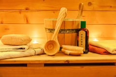 Still life with sauna accessories. By candle light Stock Photos