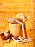 Still life with sauna accessories. Indoor Stock Photography