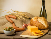 Still life with sausage cheese and bread Royalty Free Stock Photography