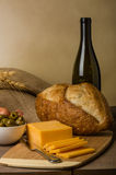 Still life with sausage cheese and bread Stock Image