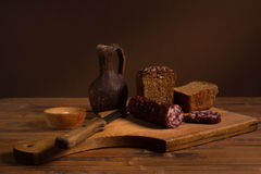 Still life with  sausage Stock Photography