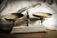 Still life scales,vintage light style. Royalty Free Stock Image