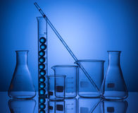 Still life with scientific glassware Stock Photos
